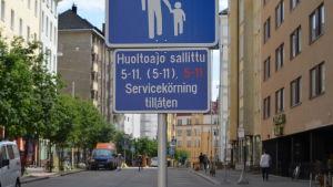 Bild på Vasagatan i Berghäll, där det gjordes ett försök med gågator.