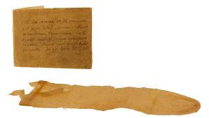 Kondomi ja latinankielinen käyttöohje vuodelta 1813.
