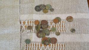 Rostiga och ärjade mynt, mark och penni