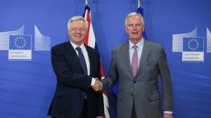 David Davis (till vänster) och Michel Barnier 17.7 under den första veckan av fullånga brexitförhandlingar.