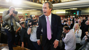 UKIP:s (United Kingdom Independence Party) ordförande Nigel Farage vid partiets möte i september 2013.