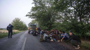 Asylsökande personer sitter vid den ungersk-serbiska gränsen den 27 juni 2015.
