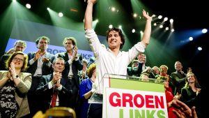 Holländska politikern Jesse Klaver på valnatten 2017