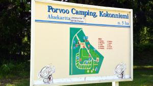 Karta över campingplatsen i Kokon i Borgå