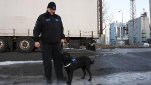 Johan Hagström står till vänster om hunden Lexi, en labrador. De står framför ett långtradarsläp.