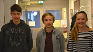 Eleverna Lukas Finskas, Milla Ilmarinen och Ludvig Backman står i en korridor. Lukas har en svart huvtröja på sig, Ludvig har en grå tröja av baseball jacka modell. Milla har en randig tröja på sig.