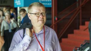 Riksdagsledamoten Kimmo Kivelä under Sannfinländarnas partikongress i Åbo  8.8.2015