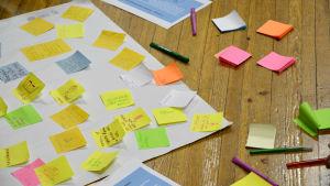 Ett papper fyllt med små lappar med idéer till den nya skolan.