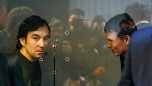 Jevgenij Jerofejev och Alexander Alexandrov under rättegången i Kiev 15.4.2016