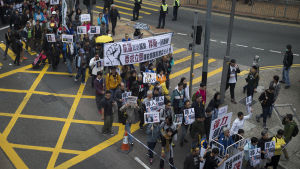 Demonstranter i Hongkong protesterar mot politisk kidnappning i Kina i januari 2016.
