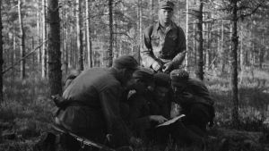 Sotilaat katselevat karttaa metsässä.