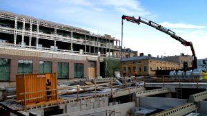 Bygget av köpcentret i Jakobstad