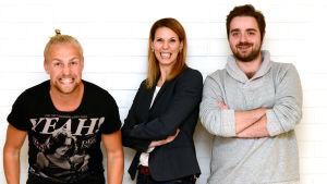 Janne Grönroos, Mikaela Ingberg och Ted Forsström.