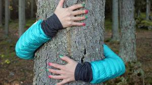 Naisen kädet halaavat puuta