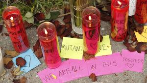 Blommor vid platsen där branden i Oakland ägde rum lördagen den 2 december 2016.