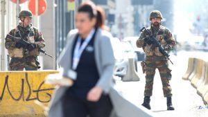 Belgiska soldater i centrum av Bryssel den 22 mars 2016.