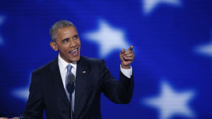 Barack Obama talar under demokraternas partikonvent.