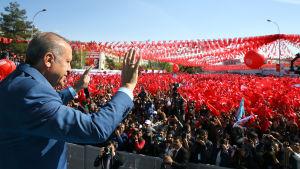 President  Recep Tayyip Erdogan vinkar till sina anhängare