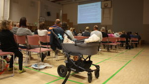 Publik med barnvagn i förgrunden.