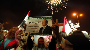 Folket började fira i Egypten så snart valresultatet verkade vara klart.