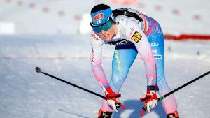 Krista Pärmäkoski efter målgången på 10 kilometer klassiskt i Falun.
