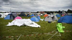 Tält vid Bråvallafestivalen i Norrköping