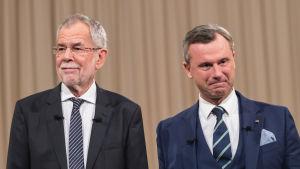 Österrikes presidentkandidater Alexander van der Bellen och Norbert Hofer.