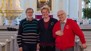 Leif Lindgren, Susanne Westerlund och Rainer Holmgård i Korsholms kyrka