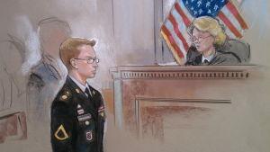 En teckning på Bradley Manning under rättegången i Fort Mead, Maryland 15.3.2012