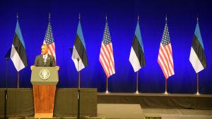 Barack Obama talar i Tallinn.