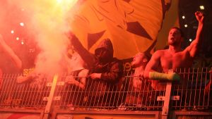Borussia Dortmund-fans i matchen mellan Dortmund och Legia Wazawa.