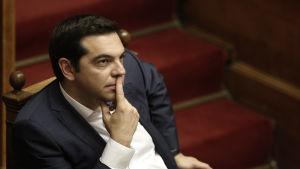 Alexis tsipras i det grekiska parlamentet den 5 juni 2015.