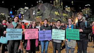 Stöddemonstration för tjetjenska homosexuella i Melbourne.