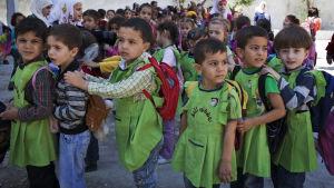Skolbarn i Aleppo i Syrien