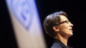 Sari Essayah håller tal vid partikongressen den 23 augusti i Nyslott.