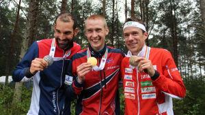 Thierry Gueorgiou, Olav Lundanes och Daniel Hubmann, VM-långdistansmedaljtrio 2016.