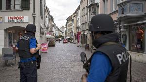 Flera människor skadades i en attack i Schaffhausen i Schweiz den 24 juli 2017.