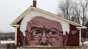 Porträtt på Bernie Sanders på en lada i Kirby, Vermont