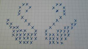 Svanar ritade som mönster med kryss