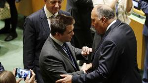 Ukrainas och Egyptens utrikesministrar skakar hand efter att deras länder blivit valda till FN:s säkerhetsråd.