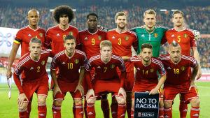 Belgiens herrlandslag i fotboll uppställda för lagbild.