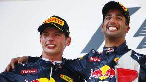 Max Verstappen och Daniel Ricciardo kör formel 1-bilar för Red Bull.