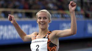 Camilla Richardsson jublar över FM-guld 2017.