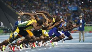 Starten i 100-metersloppets final vid OS i Rio.