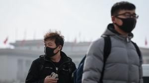 Turister på Himmelska fridens torg i Peking