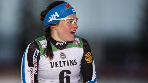 Krista Pärmäkoski åkte fort under andra halvan av loppet.