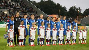 Finlands U21-lag i matchen mot Tyskland den 9 oktober 2015.
