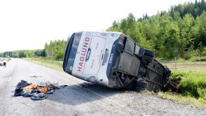 Buss i diket i Högfors.