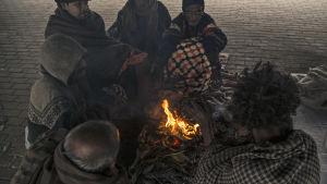 Hemlösa människor värmer sig vid elden en kylig morgon i Lahore i Pakistan.