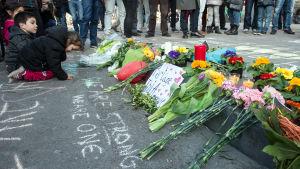 Place de la Bourse efter terrorattackerna i Bryssel 22.3.2016.